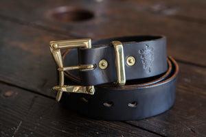 "1.5"" Black Bridle Leather Quick Release Belt with Solid Brass or Nickel Plated Hardware"