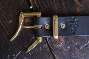 "1.25"" Black Bridle Leather Quick Release Belt with Solid Brass or Nickel Plated Hardware"