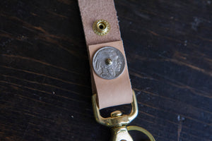 Vintage Buffalo / Indian Head Nickel Belt Fob Keychain - Assorted Colors