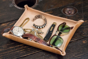 Wet Formed Natural Leather Catchall Tray