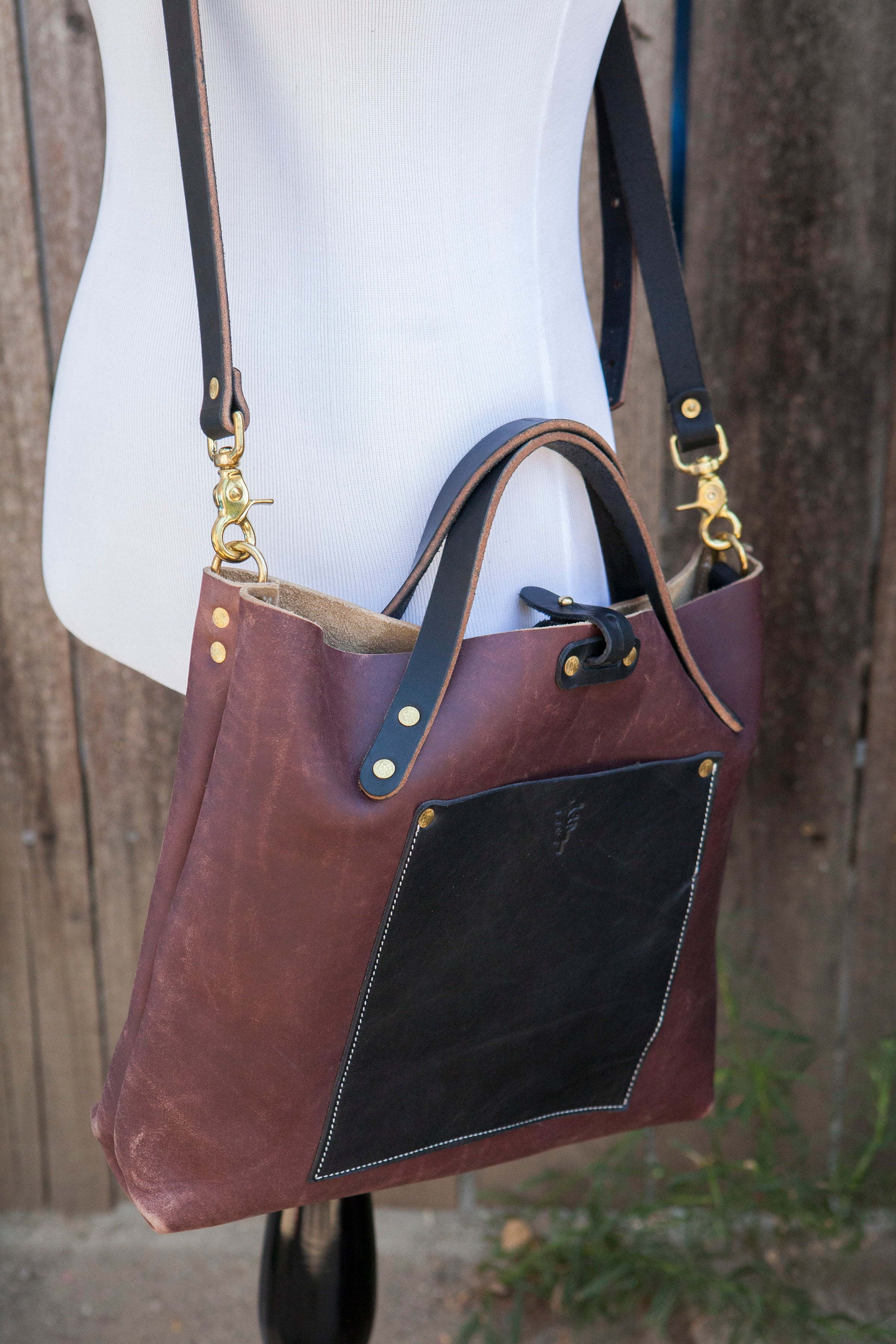 30a9267a0009 Brown Crossbody Bag with Contrasting Black Bridle Handle Shoulder Stra –  Pigeon Tree Crafting