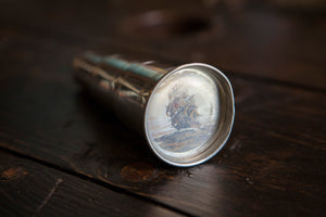 "Vintage Pewter Telescope Flask. Actually extends and has a picture of a boat on the ""glass""!"