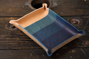 Indigo Dyed and Wet Formed Natural Leather Catchall Tray Solid Indigo with OG 4 layer dip