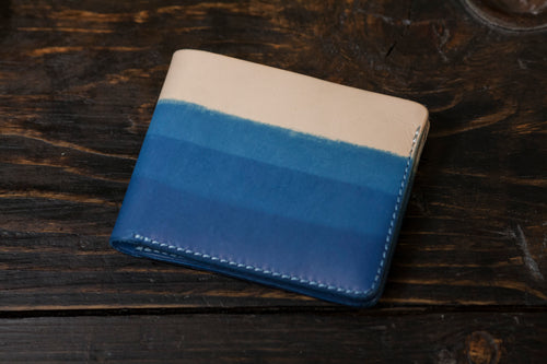 Indigo Dip Dyed Natural Vegeable Tanned Leather Bifold with OG 3 layer dip