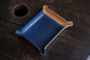 Indigo Dyed and Wet Formed Natural Leather Catchall Tray Solid Indigo with tight 5 layer gradient
