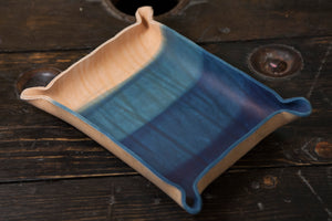 Indigo Dyed and Wet Formed Natural Leather Catchall Tray Solid Indigo with rough 3 dip gradient
