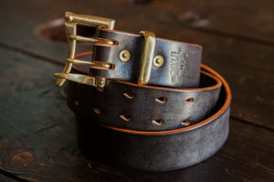 "1.5"" Double or Single Prong Quick Release Belt in Waxy Dark Havana Sedgwick - Brass, Copper or Nickel"
