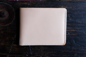 Natural Vegetable Tanned Leather Bifold with 6 Card Slots, Full Size Bill Pocket & Optional Hidden Pockets