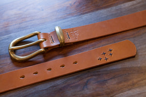 "Numbered Limited Edition 1.5"" Brown Tärnsjö Belt with Indigo Sashiko Stitching"