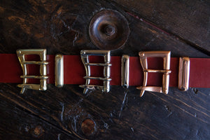 "1.5"" Red Tärnsjö Swedish Vegetable Tanned Leather - Double or Single Prong Quick Release Belt - Brass, Nicke, Copper"