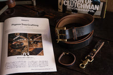 "1.5"" Double or Single Prong Painted Black Leather Quick Release Belt *fades to brown to pair with Red Wing Klondike Leather*"