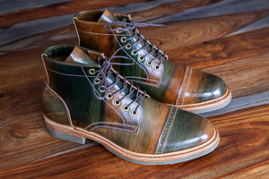 PTC X Santalum Collab No. 4 - The Hand Marbled Green Vegetable Tanned Boot