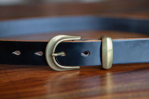 Slim Japanese Brass Black Sedgwick Belt 30mm