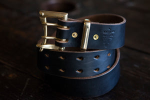 "1.5"" Double or Single Prong Quick Release Belt in Black Horween Chromexcel - Brass, Copper or Nickel"