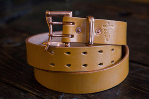 "1.5"" Double or Single Prong Quick Release Belt in London Tan Sedgwick - Brass, Copper or Nickel"