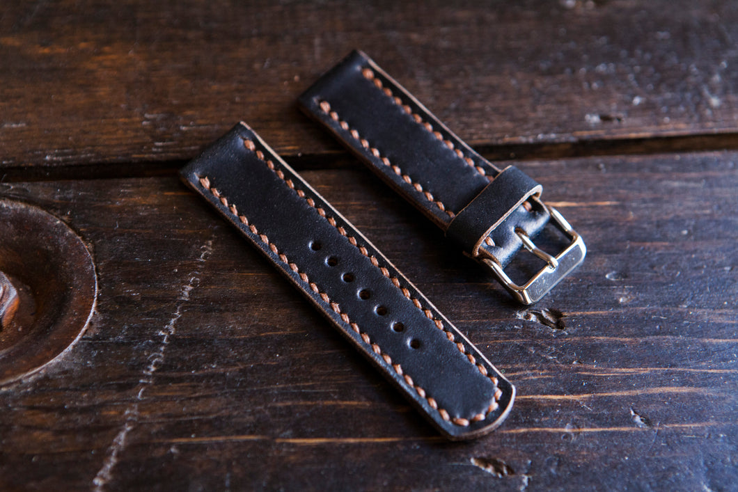 18 - 22mm Horween Black Chromexcel (CXL) Watch Strap - Hand Stitched & Made to Order