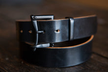 "1.5"" Double or Single Prong Blacked Out Sedgwick English Bridle Belt - Black Buckle with Black Keeper"