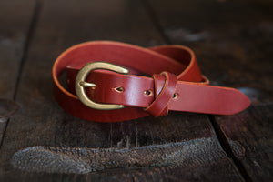 "1"" Women's Belt with Japanese Brass Hardware and Swedish Tärnsjö or Vegtan Leather - Made to Order"