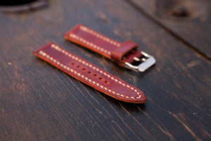 18 - 22mm Red Tärnsjö Watch Strap - Hand Stitched & Made to Order Tarnsjo