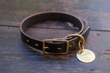 "1"" or 3/4"" Black Bridle Leather Dog Collar - Custom Made to Order"