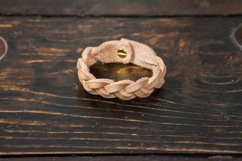 Natural Vegetable Tanned Braided Leather Cuff - Made to Order