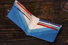 Indigo Dip Dyed Natural Vegeable Tanned Leather Bifold with V Gradient