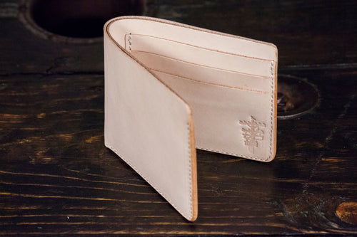 Natural Vegetable Tanned Leather Bifold with 6 Card Slots & Full Size Bill Pocket