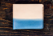Indigo Dyed Natural Vegetable Tanned Leather Bifold with Shallow Indigo Dip