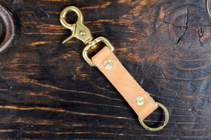 Natural Vegetable Tanned Leather Beltfob Keychain with Brass Hardware