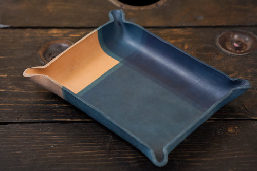 Indigo Dyed and Wet Formed Natural Leather Catchall Tray Solid Indigo with Intersecting Lines Indigo Pattern