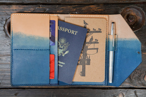 Indigo Dyed Natural Vegetable Tanned Leather Passport / Fieldnotes Wallet with Pen Holder - Handstitched & Made to Order