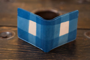 Indigo Dyed Natural Vegetable Tanned Leather Bifold with Tartan Dip Pattern