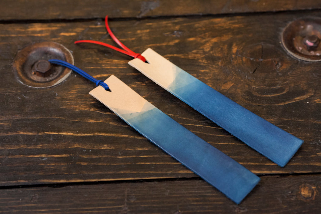 Indigo Dyed Natural Vegetable Tanned Leather Bookmark with Leather Tassel