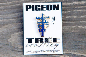 Pigeon Tree Crafting Pin- Blue and Gold- Telephone Pole Pin Los Angeles Pingame