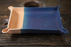 Indigo Dyed and Wet Formed Natural Leather Catchall Tray with Tight Indigo Gradient