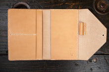 Natural Vegetable Tanned Leather Passport / Fieldnotes Wallet with Pen Holder - Handstitched & Made to Order