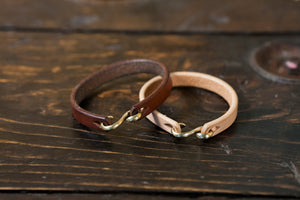 Vegetable Tanned leather Bracelet Mens Leather Cuff S hook leather cuff S Nickel Brass leather bracelet mens cuff mens bracelet