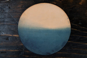 "Indigo Dip-Dyed Natural Leather 3.5"" Round Coasters  - Set of 4"