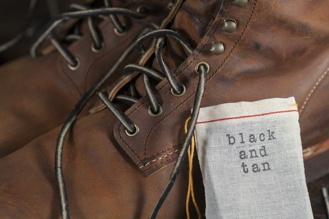 Black and Tan English Bridle Leather Boot Laces