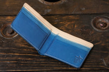 Indigo Dyed Natural Vegetable Tanned Leather Bifold with Deep Indigo Dip