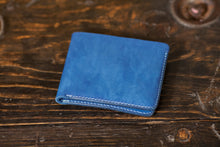 Indigo Dyed Natural Vegeable Tanned Leather Bifold