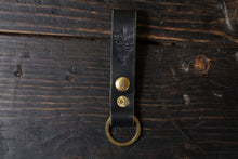 Black English Bridle Belt Loop Key Fob Snap Keychain