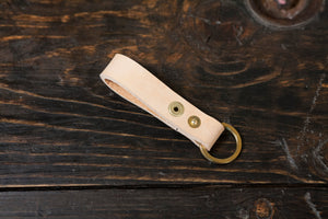 Natural Vegetable Tanned leather Belt Loop Key Fob Snap Keychain Solid Brass Hardware