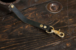 Black English Bridle Leather Belt Loop With Brass Scissor Snap Keychain