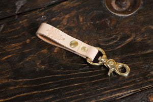 Natural Vegetable Tanned leather Belt Loop With Scissor Snap Key Fob Snap Keychain Solid Brass Hardware