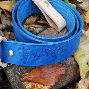 "Clobbercalm X Pigeon Tree Crafting Collaboration Belt- 1.5"" Double or Single Prong Indigo Quick Release with Natural Vegetable Tanned Leather Keeper Made to Order"