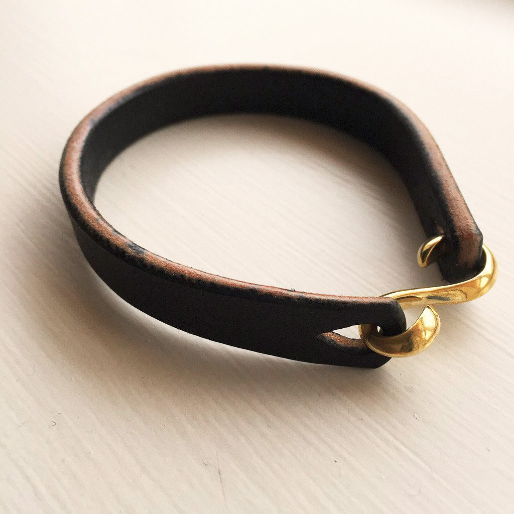 Clobbercalm X Pigeon Tree Crafting Black Bridle Leather Cuff with Solid Brass or Copper 'S' Clasp Hook