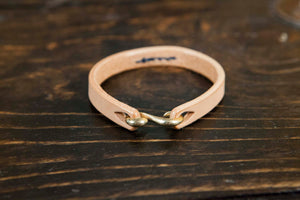 Natural Vegetable Tanned Leather Cuff with Indigo Stitching - Solid Brass or Copper S Clasp