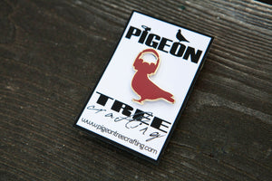 Pigeon Tree Crafting Pin- Pigeon With Headphones Red and Gold