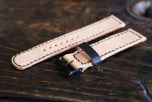 18 - 22mm  Hand Stitched Natural Vegetable Tanned Watch Strap Made to Order and Customizable